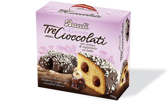 TRE CIOCCOLATI1 - Dal forno Bauli colombe e torte per festeggiare la Pasqua in dolcezza