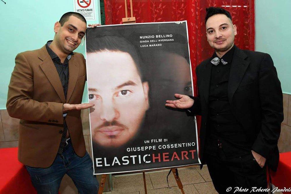 """Nunzio Bellino e Giuseppe Cossentino con Locandina - """"ELASTIC HEART"""" il nuovo corto sociale di Giuseppe Cossentino"""