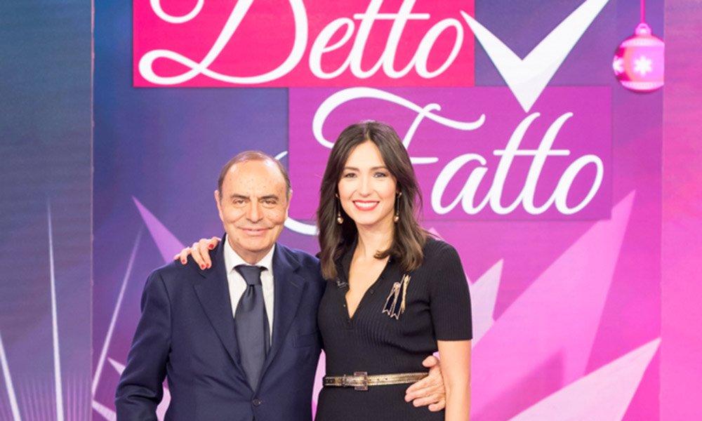 CaterinaBalivo BrunoVespa - Rai2: A Detto Fatto Xmas ospite Bruno Vespa