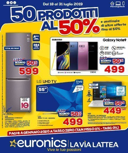 """Euronics lancia la campagna promo """"50 prodotti al 50% 6 Euronics lancia la campagna promo """"50 prodotti al 50%"""