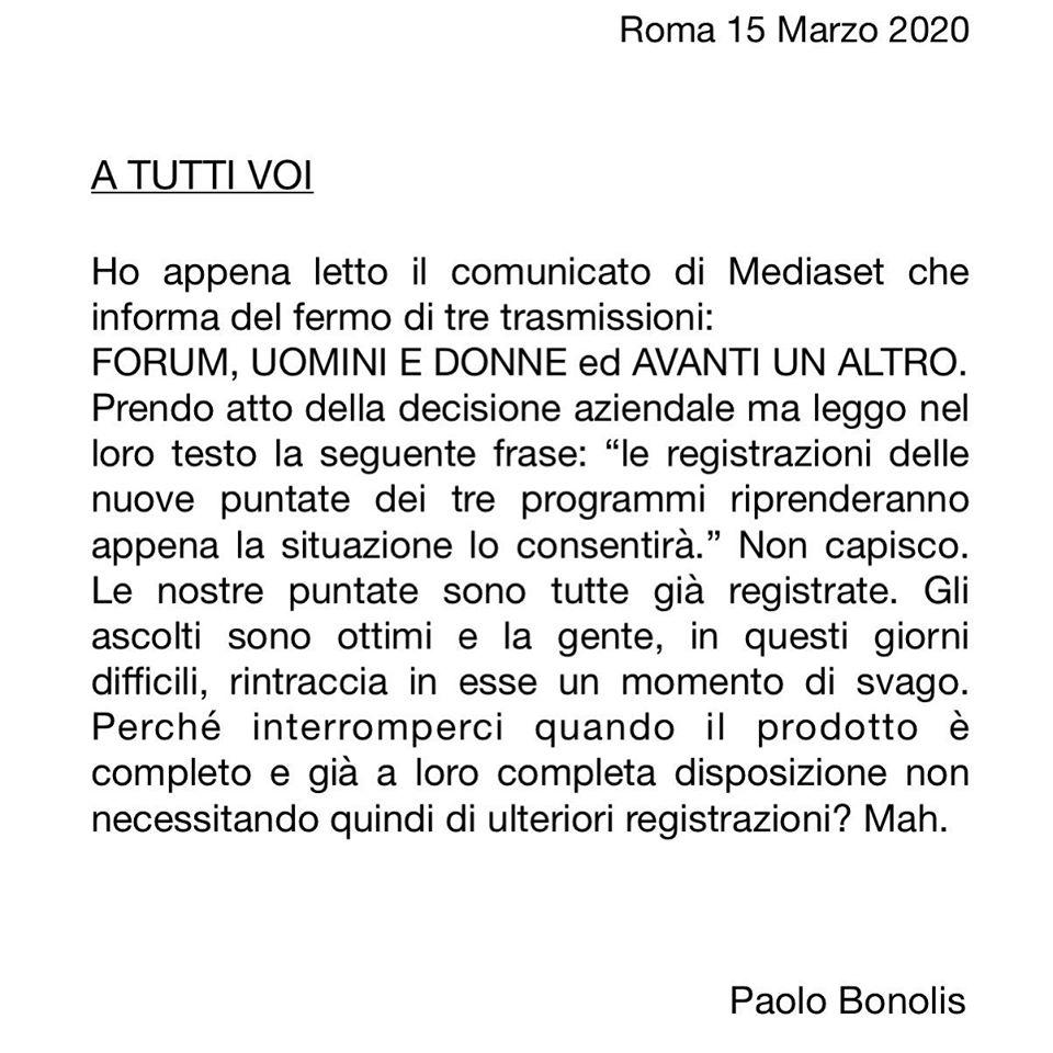 Il comunicato di Paolo Bonolis
